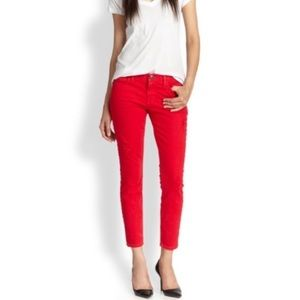 Current/Elliott Rolled Skinny Jeans in Caution Red